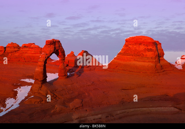 USA, Utah, Arches National Park, Sunset at Delicate Arch - Stock Image
