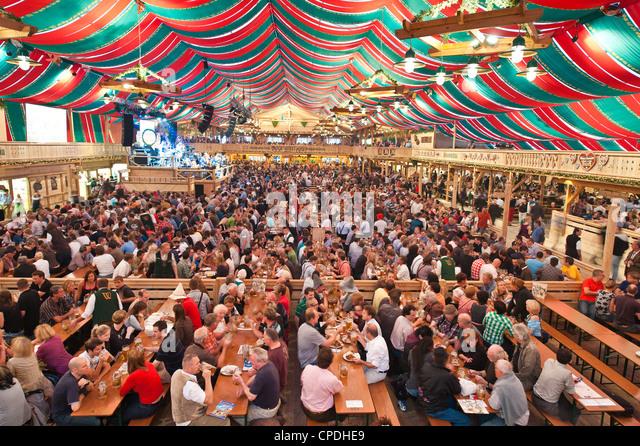 Beer hall at the Stuttgart Beer Festival, Cannstatter Wasen, Stuttgart, Baden-Wurttemberg, Germany, Europe - Stock Image