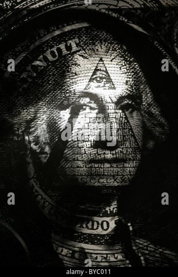george washington's face with the pyramid and eye in pyramid juxtaposed on face - Stock Image