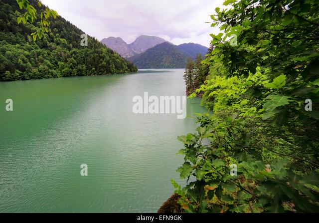 Lake Ritsa, Caucasus mountains, Abkhazia, Georgia - Stock Image
