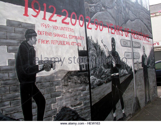 Shankill Road Mural -1912-2002, West Belfast, Northern Ireland, UK - Stock Image