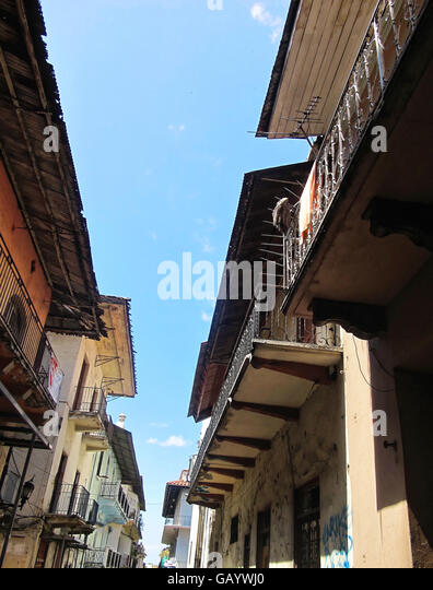 Weathered balconies and buildings featuring old architecture in Casco Viejo, Panama. - Stock Image