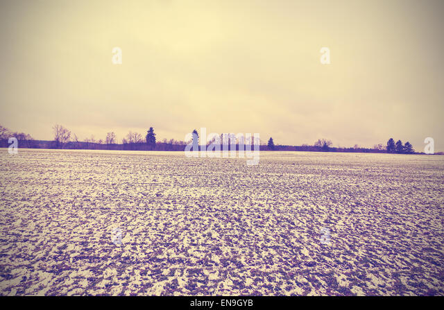Vintage toned winter peaceful landscape with vignette effect. - Stock Image