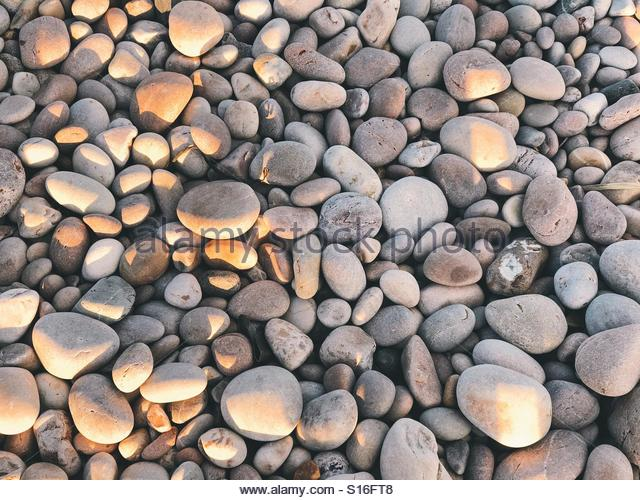 Pebbles glowing in the sunset - Stock Image