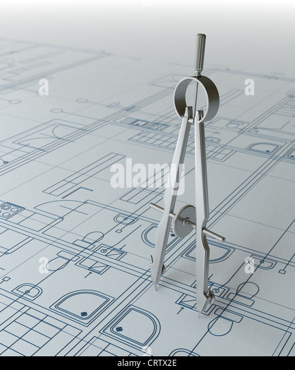 Compass and architectural draft - Stock-Bilder