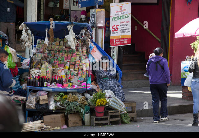 Calle Linares near Witches Market in La Paz, Bolivia, a stall selling items for sacrifices to the Pachamama, Mother - Stock Image