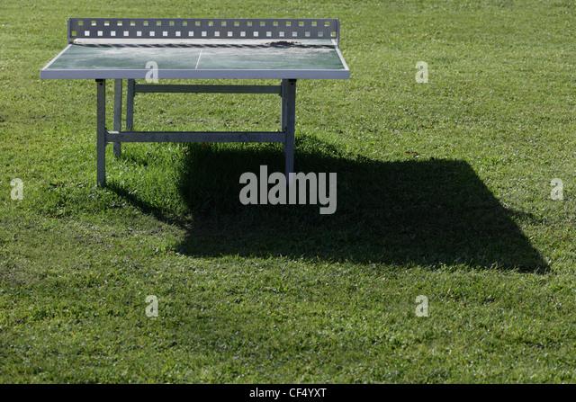 Germany, Upper Bavaria, Tennis table on resort area restort - Stock Image