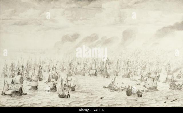 The Battle of Terheide - by Willem van de Velde, 1657 - Stock Image