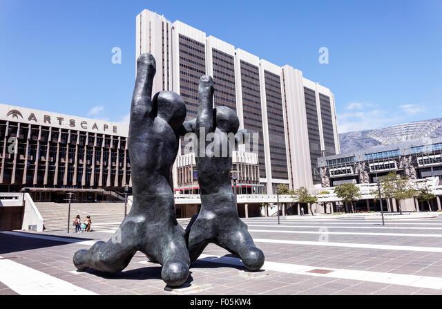 Cape Town South Africa African City Centre center Artscape Theatre Centre theater art sculpture Civic - Stock Image