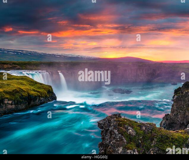 Summer morning scene on the Godafoss Waterfall. Colorful sunset on the on Skjalfandafljot river, Iceland, Europe. - Stock Image