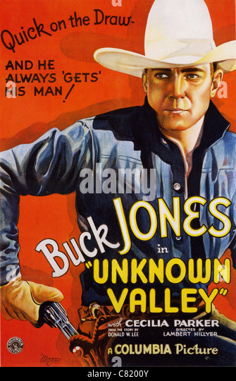 UNKNOWN VALLEY Poster for 1933 Columbia film with Buck Jones - Stock Image