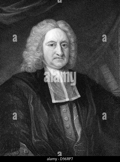 Edmond Halley (1656-1742) English astronomer and mathematician. Engraving - Stock Image