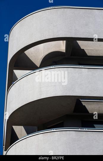 Detail of an Art Deco period building in Tel Aviv, Israel - Stock Image