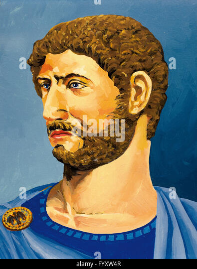 Hadrian (76-138). Roman emperor.  Watercolor. - Stock-Bilder