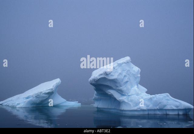 ANTARCTICA Iceberg in heavy fog Paradise Bay antarctic Peninsula - Stock Image