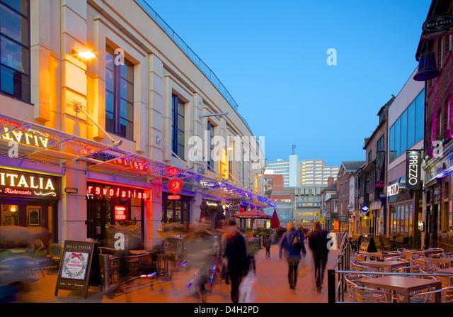 Forman Street at dusk, Nottingham, Nottinghamshire, England, UK - Stock Image