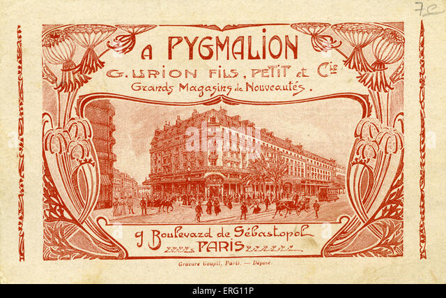 Pygmalion- advertising card for French department store. 'Grands Magasins de Nouveautés Boulevard de Sévastopol, - Stock Image