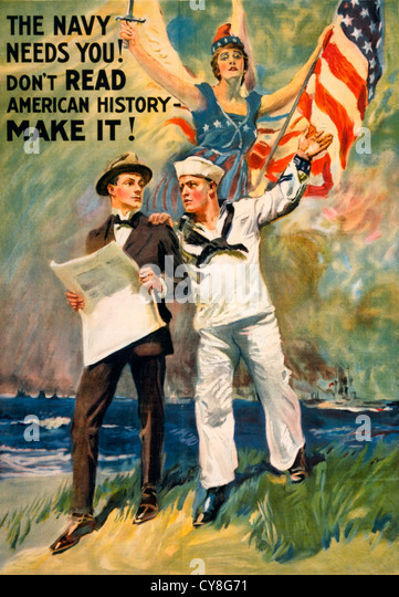 The Navy needs you! Don't read American history - make it! WWI Poster showing a sailor taking a man in a suit - Stock-Bilder