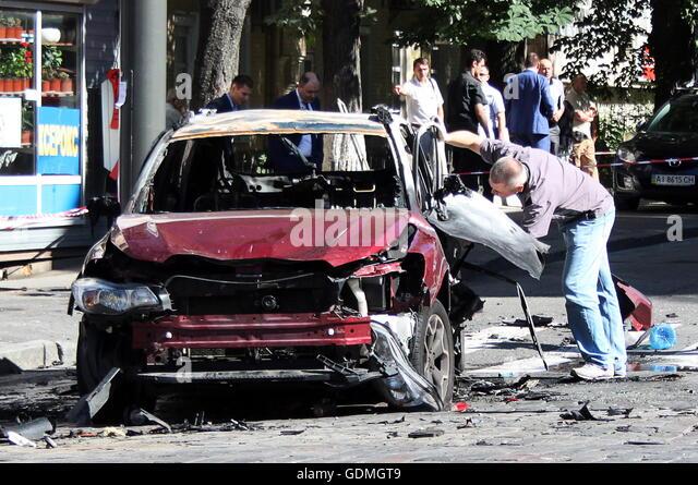 Kiev, Ukraine. 20th July, 2016. The site of a car explosion on the corner of Bohdan Khmelnytsky and Ivan Franko - Stock Image