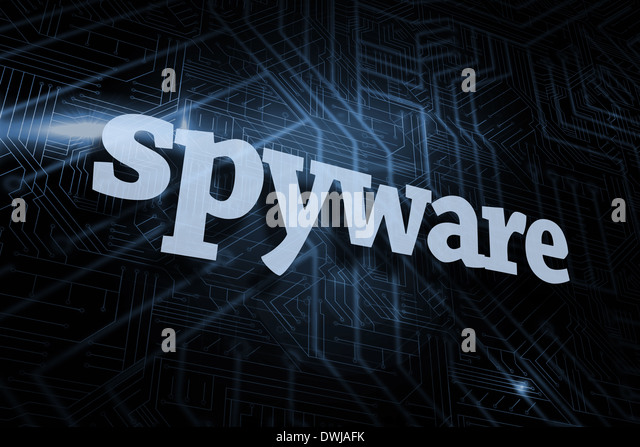 Spyware against futuristic black and blue background - Stock Image