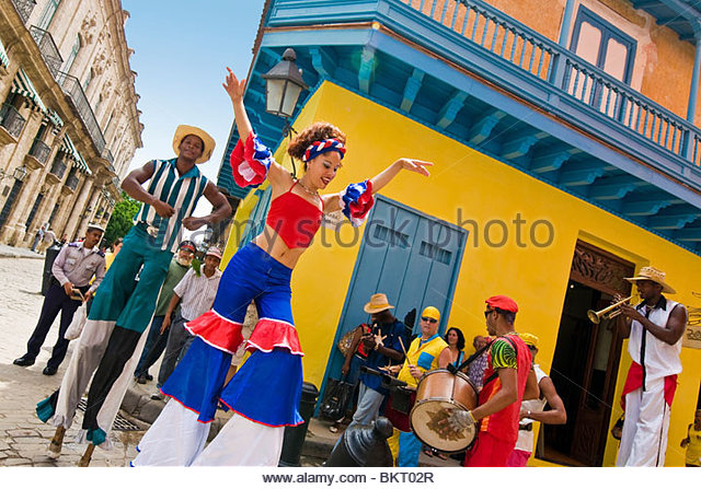 cuba,havana,folkloric show in the street - Stock Image