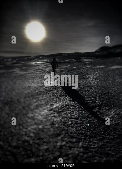 Long shadow from the sun - Stock Image