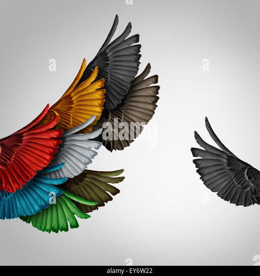 Go it alone unusual thinker leadership leader or new leadership concept and individuality as a group of united flying - Stock Image