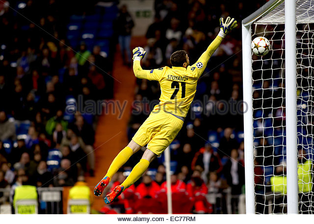 SPAIN, Madrid: Ludogorets´s goalkeeper player Vladislav Stoyanov cant stops the ball during the Champions League - Stock Image