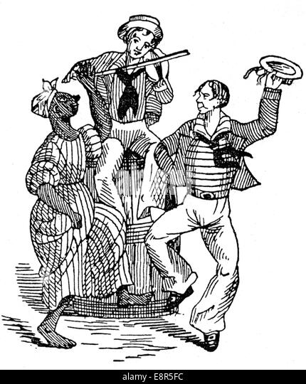 SEA SHANTY early 19th century engraving - Stock Image