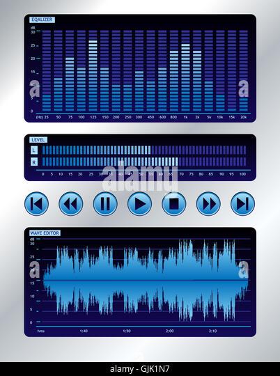 equalizer blue music - Stock-Bilder