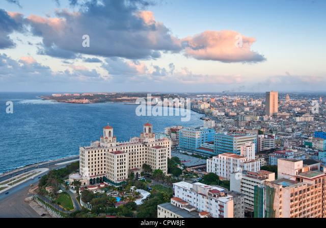 Havana. Cuba. View across Havana from Vedado towards Centro & Old Havana. - Stock Image