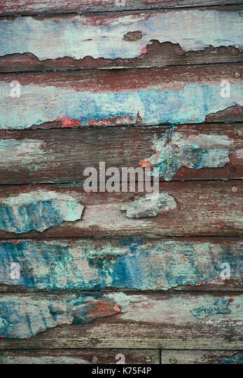 Detail of a weathered wooden boat - Stock Image
