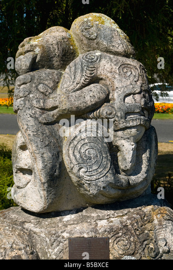 Outdoor sculpture at Taupo, North Island, New Zealand - Stock Image