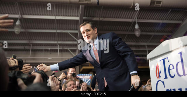 Republican presidential candidate hopeful Texas Sen. Ted Cruz celebrate his victory in the Iowa Republican caucus - Stock Image