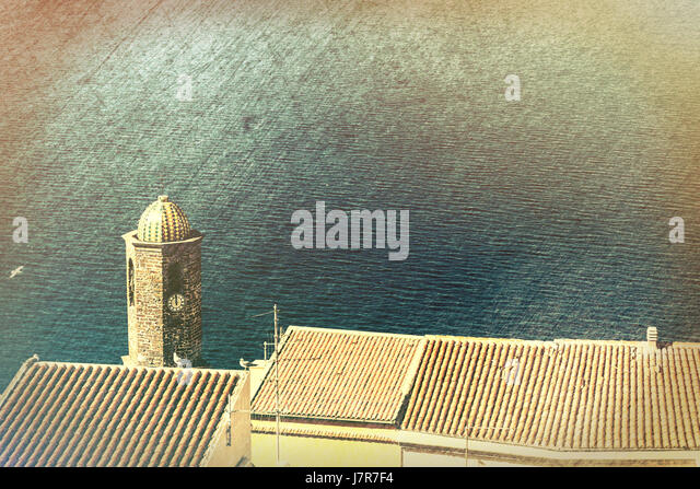 Sant Antonio abate church bell tower in Castelsardo, Sardinia, - Stock Image