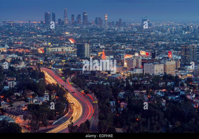 Night city skyline, Los Angeles, California, USA - Stock Image