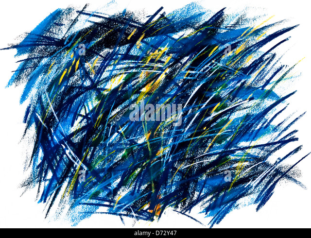 'Blue Grass' abstract pastel drawing illustration - artwork by Ed Buziak. - Stock Image