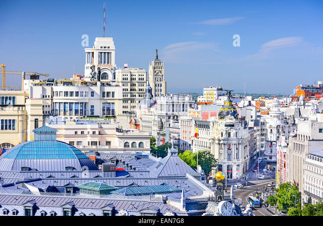 Madrid, Spain cityscape over Gran Via. - Stock-Bilder