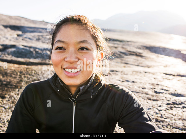 Portrait of young female hiker, Squamish, British Columbia, Canada - Stock Image