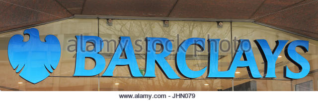File photo dated 27/04/16 of a sign for a branch of Barclays bank in central London, as Barclays has confirmed plans - Stock Image