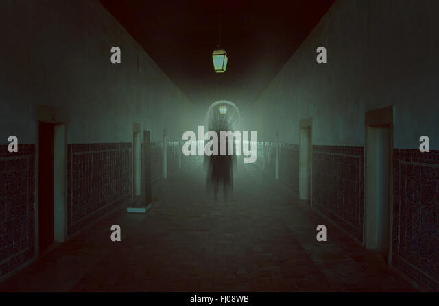 Dark evil shadow in haunted building . Halloween and horror tones - Stock-Bilder