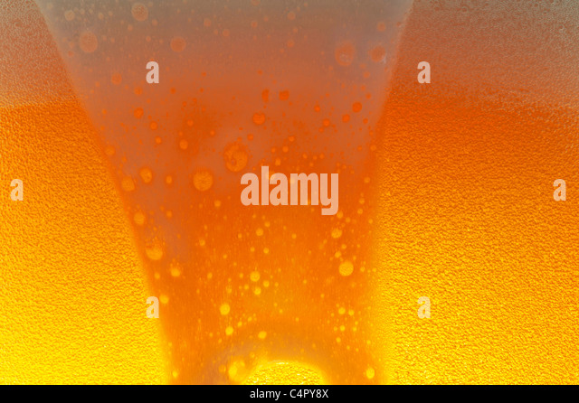 Light beer in a glass with the froth - Stock Image