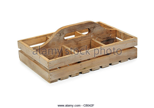 Wooden plant pot carrier. - Stock Image