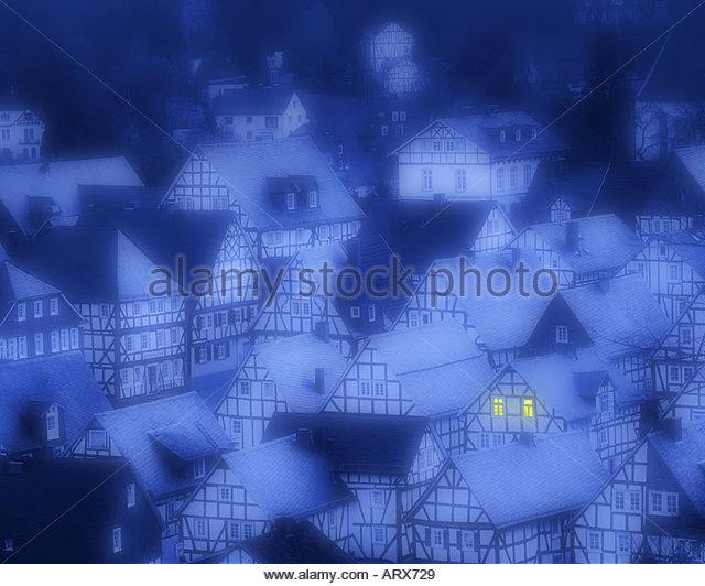 DE - NORTH RHINE WESTPHALIA: Freudenberg by night - Stock-Bilder