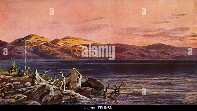 Evening at the Dead Sea.  Postcard from early 1900s with single boat - Stock Image
