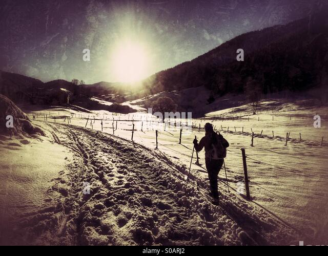 Cross-country skier following a track in the snow. - Stock Image