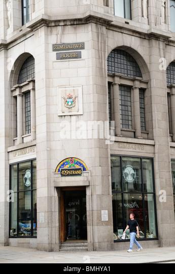 Zimbabwe House, Zimbabwean Embassy, The Strand, London, England, UK - Stock Image