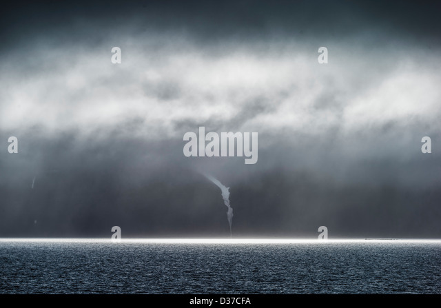 Clouds and Sun rays over the Greenland sea, Svalbard, Norway - Stock Image