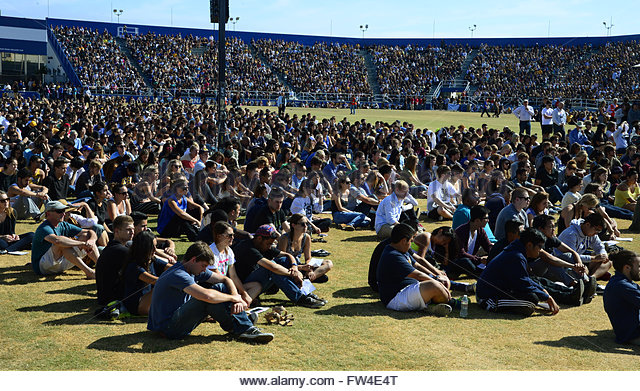 Over 18,000 people, mostly students, attend a memorial event for the six UCSB students killed and 13 wounded in - Stock Image