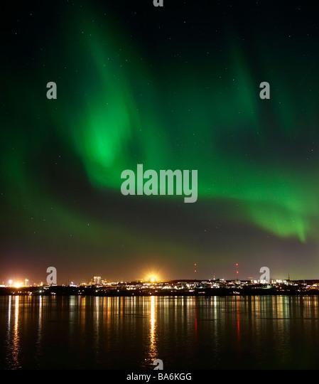 Aurora Borealis or Northern Lights,  Reykjavik,  Iceland - Stock Image
